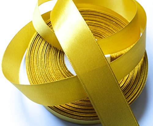 CaPiSo 50m Polyester-Taftband 25mm Breite 2,5cm Fließender Satin-Effekt Dekoband Satinband Schleifenband Geschenkband (Gold)