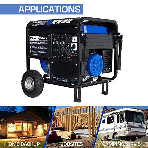 DuroMax XP10000E Gas Powered Portable Generator-10000 Watt Electric Start-Home Back Up & RV Ready,...