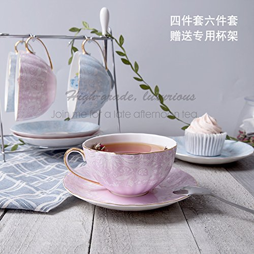 LOYWT European Style Kaffeetasse Set, Gilts Bone China Cup, Blumen-Tee-Cup, Löffel Cup, Afternoon Tea Cup, Schwarzer Tee-Cup, Hellblau 4 Tassen und 4 Untertassen 4 Löffel