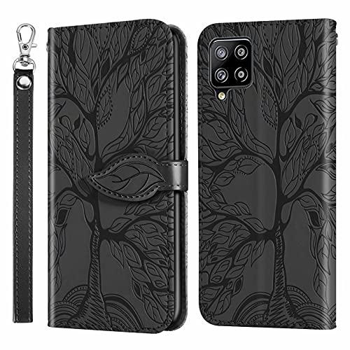 MUTOUREN Funda para Samsung Galaxy A42 5G - Carcasa Folio PU Cuero Flip Cover Wallet Case Anti-rasguños Protectora Bolsillo Carteras, con Protector de Pantalla - Negro