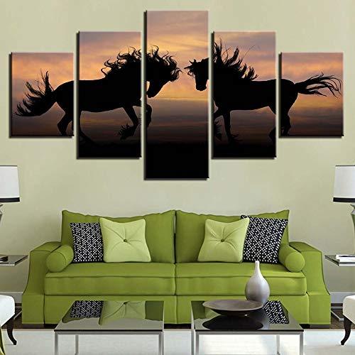Muurkunst, canvas met HD-druk, huisdecoratie, 5 dieren, paard, modulaire achtergrond, kunstwerk L-30x40 30x60 30x80cm Frame
