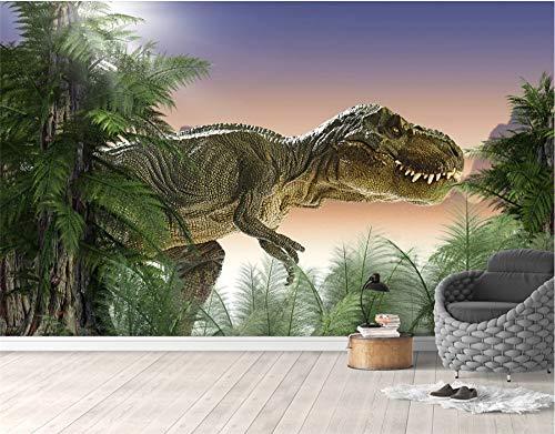 Glorious.Q Fotomurales Dinosaurio Estereoscópico 3D Bosque Virgen Papel Pintado Tela De Seda Decoración De Pared Decorativos Murales Moderna De Diseno Fotográfico 366X254Cm