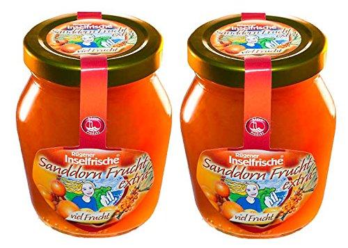 2 Gläser Rügener Inselfrische Sanddorn Fruchtaufstrich pur mit extra viel Frucht, 220 g