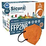 30 mascarillas FFP2 certificadas CE NARANJA con elásticos negros SICURA logotipo en relieve BFE ≥99% Fabricado en Italia SANITIZADO y sellado individualmente Certificadas ISO 13485 y 9001