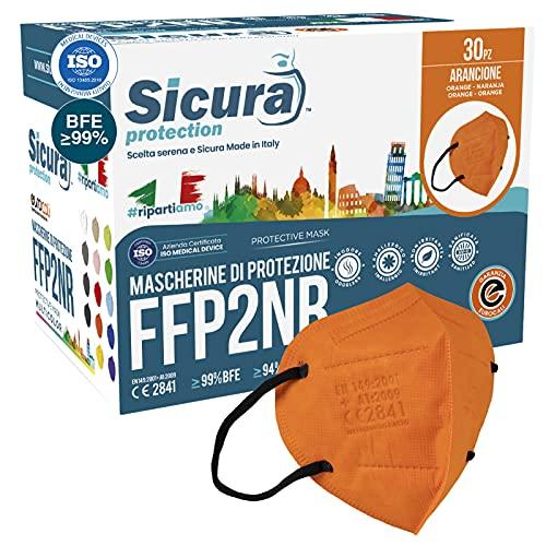 30 FFP2 Masken CE zertifiziert ORANGE mit schwarzen Gummibändern SICURA Logo geprägt BFE ≥99% Made in Italy SANITIZED und einzeln versiegelt FFP2 Masken zertifiziert ISO 13485 und ISO 9001