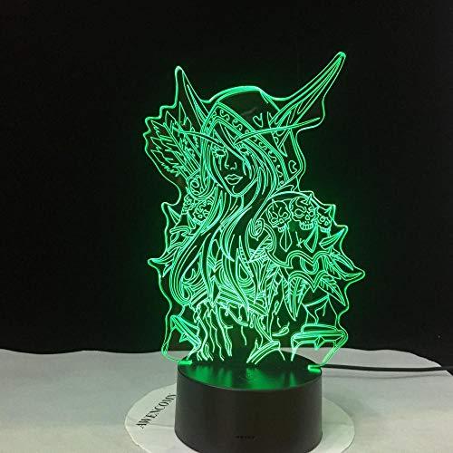 Luz de noche 3D Sylvanas Windrunner Wow Lámpara LED 3D World Of Warcraft Niños Luz de noche S Decoración de dormitorio LED Regalo de vacaciones Lámpara de noche para niños Usb-Sin_Controlador