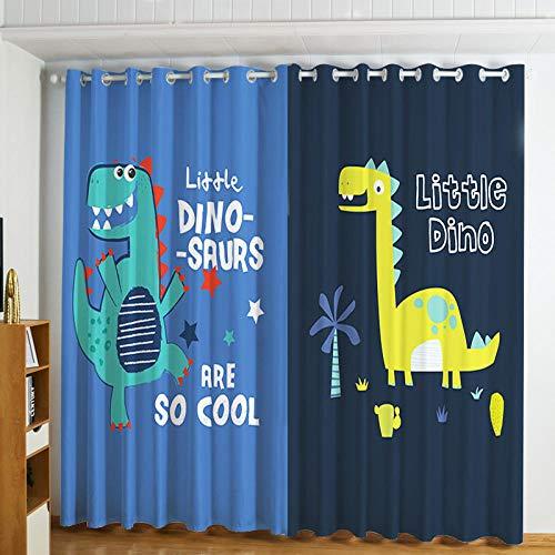 DOORWD Tenda Oscurante Termica Isolante con Occhielli Tende Dinosauro Blu dei Cartoni Animati 2 Pannello per Finestre Soggiorno Interni 220 cm x 215cm