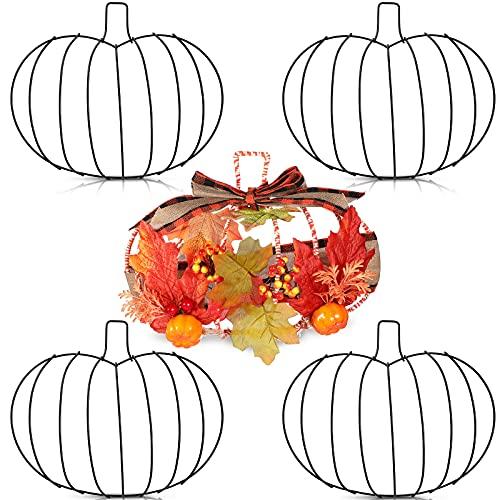 4 Pièces Grande Couronne de Citrouille Couronne en Fil Métallique pour Décorations d'Halloween Porte d'Entrée Suspendue Vacances d'Action de Grâces d'Automne à la Ferme