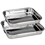 Space Home - Rustidera de Horno con Asas - Acero Inoxidable - Set de 2