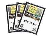 3-B Set de 3 pièces Cadres FOTO - 15x21 (A5) - Noir - Cadre en Plastique, Cadre pour Photo