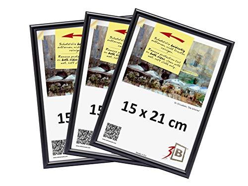 3-B Set 3 STK. - Bilderrahmen Foto - 15x21 cm - schwarz - Fotorahmen, Kunststoffrahmen mit Polyesterglas. Sparpaket!