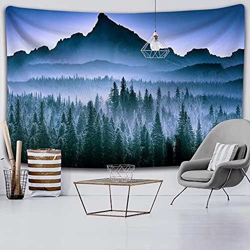 Tapiz para dormitorio Bosque tranquilo Decoración del hogar Tapiz Brujería Hippie, Estilo nórdico Colgante de pared Decorativo Yoga Matparty