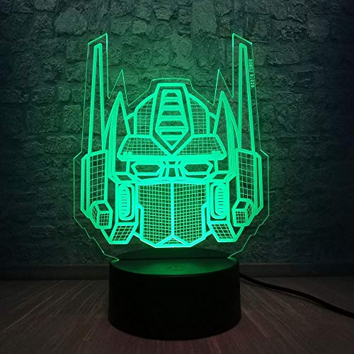 3D Optical Illusion Transformers Model Desk Table Led Night Light 7 Colors Gradual Changing Best for Boys or Home Office Decoration (Transformers)