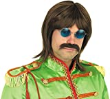 Mens 60s Pop Wig Adults Rock Band Music Brown Hair Costume Accessory