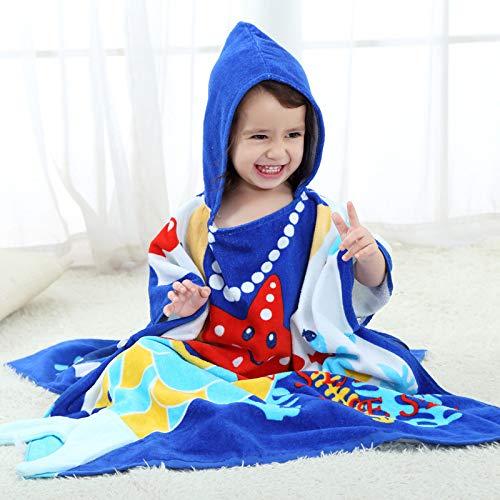 LIFEILONG Toalla de baño para niños Albornoz con Estampado de bebé Toalla de Playa con código de océano (Altura Recomendada 70-140 cm)