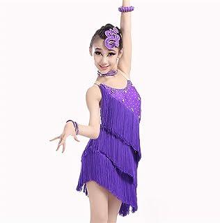 ドレスプリンセスコスチューム 女の子のダンスドレスフリンジパフォーマンス社交衣装サルサタンゴタッセルラテンダンスドレス衣装体操ダンスウェア 肌にやさしい通気性 (色 : 紫の, サイズ : 130)