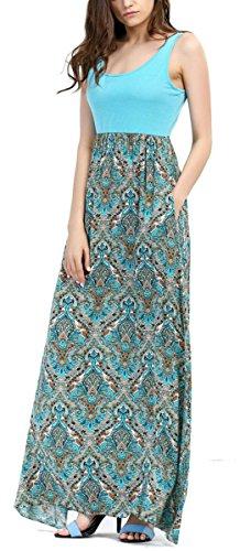 Women's Casual Summer Sleeveless High Waist Tank Long Maxi Dress with Pockets Blue XL