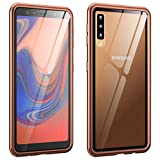 GUANHAO Galaxy A7 2018 ケース, アルミ合金バンパー 強化ガラス 透明バック ネジ式 高級感 傷つきにくい 衝撃吸収 保護ケース ために Samsung Galaxy A7 2018 (ブロンズ)