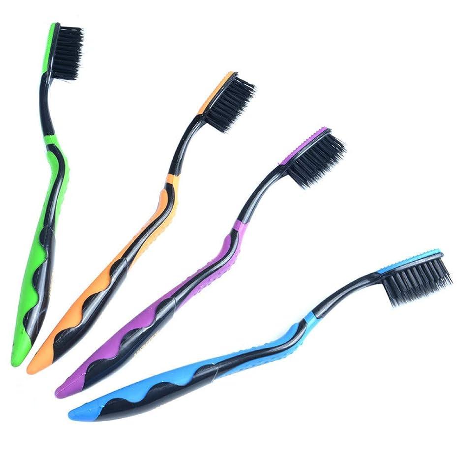 4本のダブルウルトラソフト歯ブラシ竹炭ナノブラシオーラルケアナノ抗菌歯ブラシブラックヘッド、