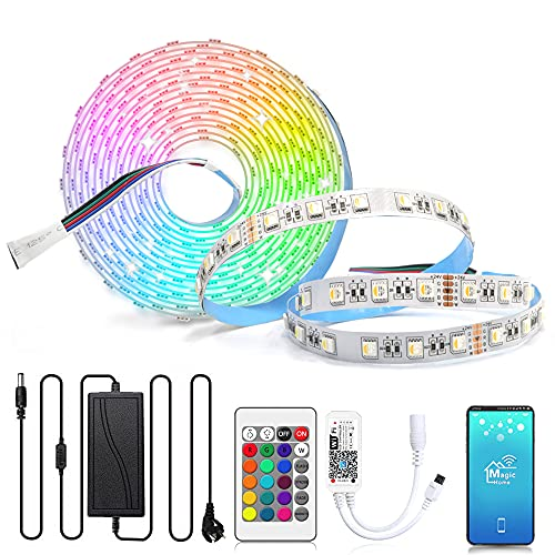 Arotelicht 24V LED Streifen RGBW 5m LED strip dimmbar rgbww warmweiß 300 LEDs 5050 Lichterkette DIY Lichterband mit WIFI Fernbedienung und Netzteil für Innen Deko Kücke Wohnzimmer