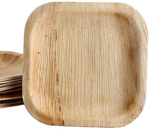 KOKA Lot de 50 assiettes jetables carrées en feuille de palmier respectueuses de l'environnement et compostables - Dimensions extérieures : 15 x 15 cm