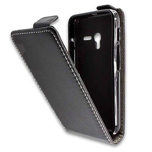 caseroxx Flip Cover für Alcatel One Touch Pixi 3 4013D 4 Zoll, Tasche (Flip Cover in schwarz)