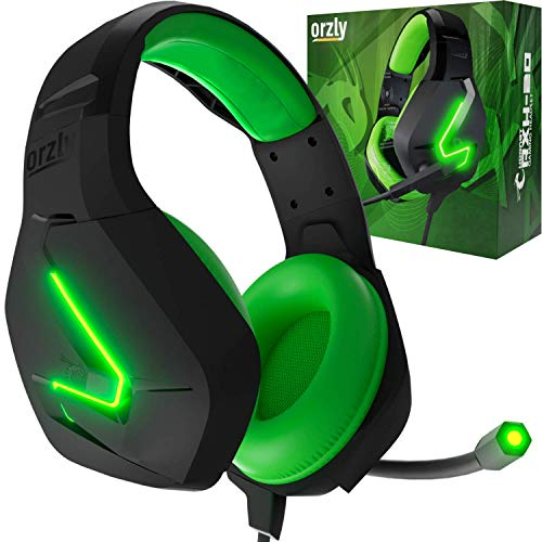 Orzly Cuffie da Gioco Bass Stereo per PS5 Playstation 5, PS4, Xbox Series X|S, Xbox One, Nintendo Switch, Stadia, PC, Mac, Laptop Hornet RXH-20 Cuffie Gaming con Microfono [Edizione Sagano]