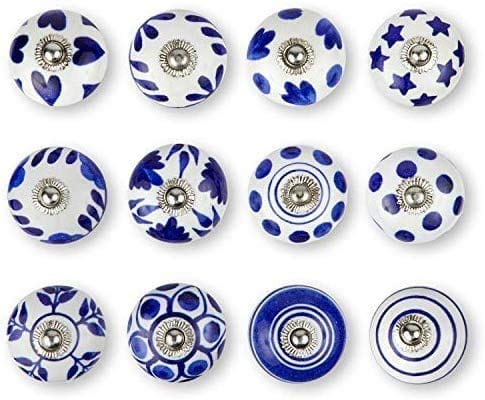 Juego de 12 pomos hechos a mano de cerámica con diseño variado, pintados a mano, tiradores de cajones ideales para cualquier hogar, cocina u oficina   estos pomos de cajón vienen