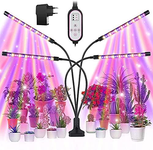 Enzeno LED Pflanzenlampe, 80 LED Dimmbar Pflanzenlampe Vollspektrum, 4 Heads 360°Einstellbar Pflanzenleuchte mit Zeitschaltuhr, 9 Arten von Helligkeit&3 Lichter Modi für Gemüse