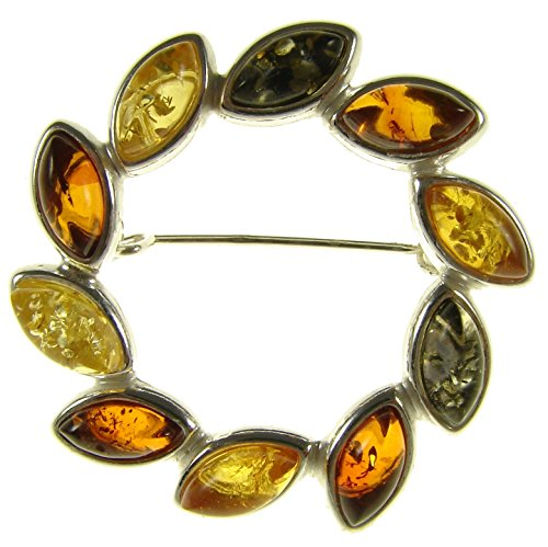 BALTIC AMBER AND STERLING SILVER 925 DESIGNER MULTI-COLOURED FLOWER LEAF BROOCH PIN JEWELLERY JEWELRY