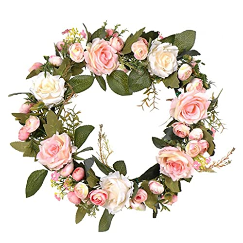 YepYes Rosas Artificiales Redonda En Forma De Guirnalda Decoración, Falso Pared del Hogar Rose Flores Colgantes Garland, Puerta De Simulación Rose Floral Frente Corona, Primavera Corona