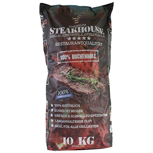 STEAKHOUSE Premium Grillkohle 10kg aus 100% Buchenholz BBQ-Holzkohle in Restaurantqualität