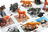 Curious Minds Busy Bags Montessori Safari Animal Match - Miniature Figurines with 2 Part Matching Cards