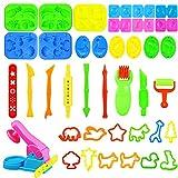 Yojoloin Outils de Pâte À Modeler Play doh Moules Kit pour Argile Pâte à Modeler 44 pièces Smart Dough Tools avec Extrudeuses 3D Outils de Pâte