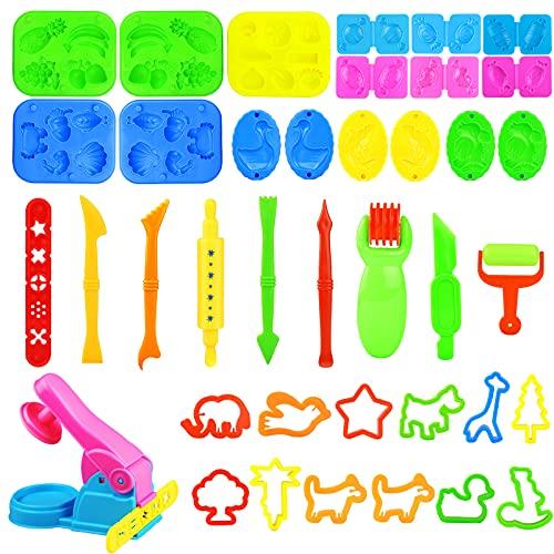 Yojoloin Herramientas Plastilina,44 Piezas Juegos de plastilina para niños 3 4 5 6 años,3D Moldes Plastilina Accesorios de...
