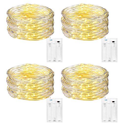 DazSpirit Guirnalda Luces Pilas, [4 Pack ] Guirnalda Luces Navidad, 5M 50LEDs Luces de Cadena Micro Arbol de...