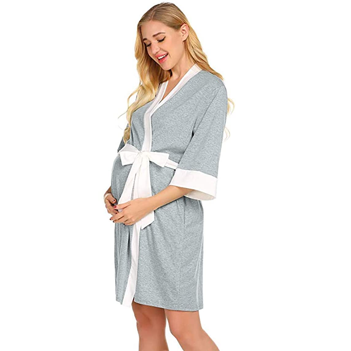 Maternity Robe,Women Nursing Delivery Nightgowns Hospital Breastfeeding Gown Dress