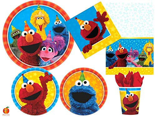 Sesame Street Party Supplies Bundle with Plates, Napkins, Cups, Table Cover for 8 Guests