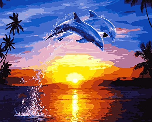 Paint By Numbers Kits for Adult Children, Number Wowdecor Painting Dolphin Sunset Sea Landscape 40 x 50 cm