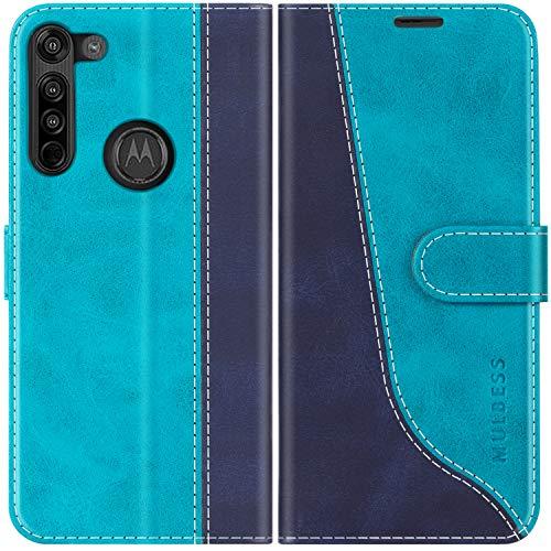 Mulbess Handyhülle für Motorola Moto G8 Hülle Leder, Motorola Moto G8 Handy Hüllen, Modisch Flip Handytasche Schutzhülle für Motorola Moto G8, Mint Blau