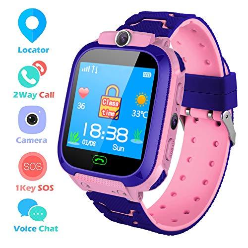 bhdlovely Smartwatch Kinder LBS Tracker Uhr für Kinder Anti Lost Kids Watch Telefon Kinderuhr Jungen Mädchen Pink