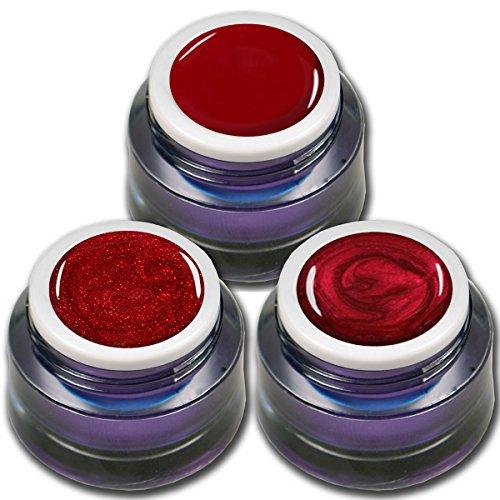 3x 5ml Premium UV Gel Set Red Stars je ein Farb - Glitter - Metallic Gel in Rot Nageldesign Nailart 3er Pack