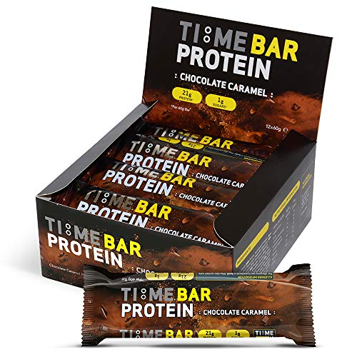 Time 4 Nutrition - Time Bar High Protein Low Carb Bar Protein Bars (12 x 60g Bars Per Box) – High Protein Bars – Low Carb Bars – Protein Bars Low Sugar – Low Calorie Protein Bars (Chocolate Caramel)