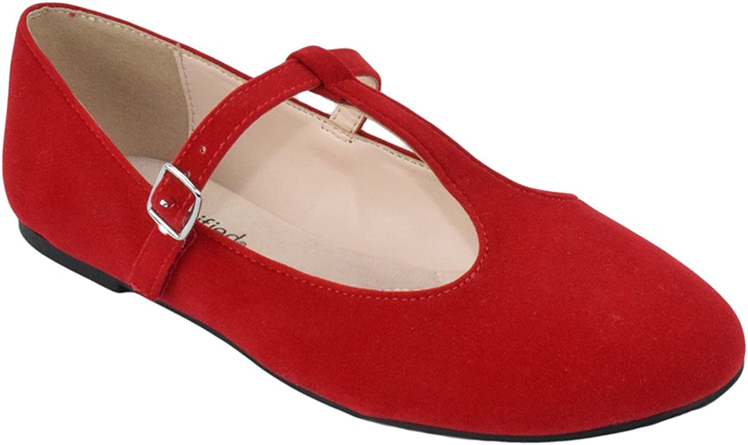 City Classified Women Ballet Flats Mary Jane shoes Ankle T-Strap Duffel-H