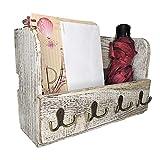 Comfify Organizador de madera para correo de montaje en pared - Organizador rústico para pared - Porta revistas con 4 ganchos de doble llave, Decorador de pared rústico de color blanco para la entrada