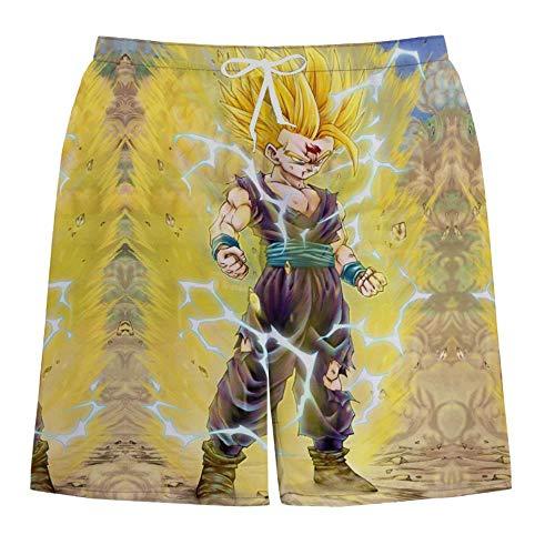 NIEWEI-YI Hombre Bañador Shorts 3D Playa Natacion Pantalon Corto Poliéster Secado Rápido Ligero Moda Shorts Dragon Ball,L