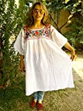 Women's Mexican Embroidered Dress Bohemian Tunic Plus Size