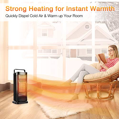 Ceramic Space Heater for Office - Small Portable Electric Oscillating Tower Heater with Thermostat, Fast Heating, Tip-over & Overheat Protection, Quiet, Ideal for Personal, Office, Bedroom, Bathroom, Home, Indoor Use