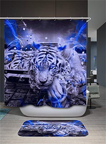 Fansu Duschvorhang Wasserdicht Anti-Schimmel Anti-Bakteriell, 3D Drucken 100% Polyester Bad Vorhang für Badzimmer mit C-Form Kunststoff Haken (90x180cm,Weißer Tiger)