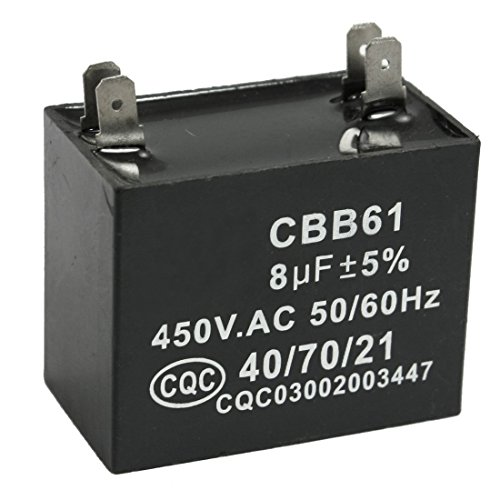 REFURBISHHOUSE CBB61 8uF 450V AC 50/60Hz Condensador de funcionamiento de motor del ventilador del acondicionador de aire